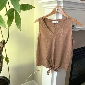 FROM PALMER Brown Tie Front Vneck Tank Top